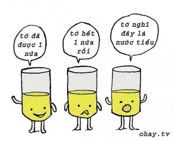 cốc nước lạc quan